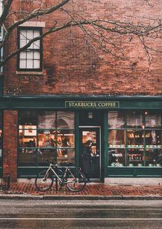 Starbucks on Charles Street in Beacon Hill, Boston, Massachusetts, New England - Aesthetic Photography Autumn Aesthetic, Aesthetic Coffee, Aesthetic Style, Aesthetic Dark, Cosy Aesthetic, Orange Aesthetic, Travel Aesthetic, Autumn Cozy, Autumn Coffee