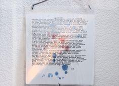 Wanddeko Gedicht auf Taschentuch laminiert von VioletCassieLilyandRose auf DaWanda.com
