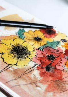 Beautiful watercolor flowers from Alisa Burke...I wonder if I could make something like this.