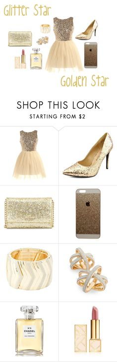 """Golden Glitter"" by rxbx4 on Polyvore featuring Penny Loves Kenny, Kate Spade, Charlotte Russe, Topshop, Chanel and Tory Burch"