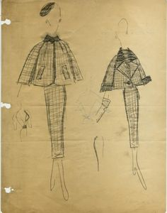 James Galanos sketches for Jimi Originals ➔ Two Plaid Women's Suits with Short Boxy Jackets, circa 1950.