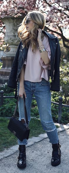 Casual Cool Spring Outfit 2017: Jecky from Want Get Repeat is wearing Levi's 501 CT Jeans, Zara flounced blouse and leather jacket