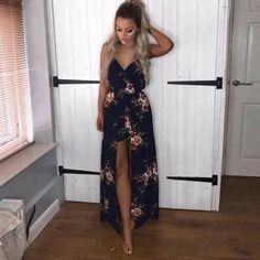 1d639125ad Ladies Sleeveless Spaghetti Strap Floral Print Romper Dress – ooMAXI  Dress   AffordableFashion  MaxiDress