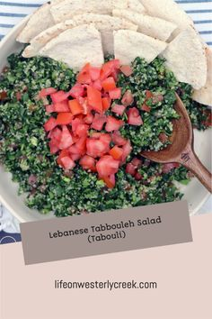Tabbouleh or tabouli is a traditional Lebanese salad full of flavor from parsley, tomatoes, green onions, bulger wheat, lemon, olive oil and mint. This salad is known for it's fresh taste and health benefits popular with the Mediterranean Diet. #vegan Creamy Mushroom Soup, Creamy Mushrooms, Easy Family Meals, Easy Meals, Lebanese Tabbouleh, Whole Food Recipes, Easy Recipes, Bulgar Wheat, Pasta Puttanesca