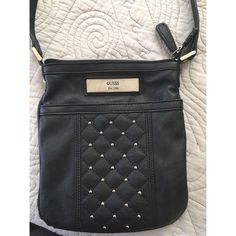 GUESS Small Black Leather Cross Body Studded Purse Black guess purse - great condition just a little bit of frayed stitching Guess Bags Crossbody Bags