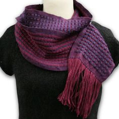 Charlemont Lace Scarf, by labestor. One of my faves.    woven on rigid heddle loom, 12 dent heddle, using a 7/1 lace pick up pattern. Yarn is Valley Yarns Charlemont in Mulberry (warp) and Purple Passion (weft).
