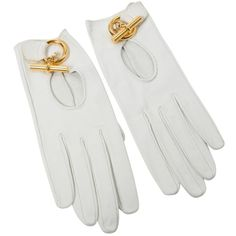 Pre-owned Hermès Leather Gloves (22,480 INR) ❤ liked on Polyvore featuring accessories, gloves, white, real leather gloves, hermès, white gloves, white leather gloves and leather gloves