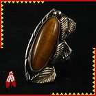 Tiger eye Navajo handmade silver ring