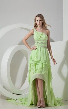 One-shoulder High Low 2014 Prom Dress Beads Cheap In Store