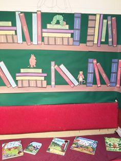 Book shelf display using Twinkl resources. Reading Corner Classroom, Classroom Board, New Classroom, Classroom Decor, Reading Display, Shelf Display, Display Boards, Display Ideas, Library Displays