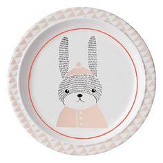 Assiette plate pour enfants 22 cm lapin rose - @bloomingville  collection Sophia