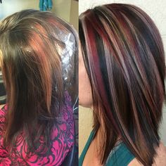 Red black and blonde hair chunky highlight Matrix SoColor  Instagram @hairbycrystalhodges
