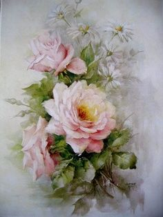 watercolor cabbage pink roses - Google Search