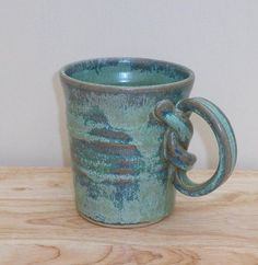 Hand Thrown Pottery | Coffee mug tea cup in stoneware hand thrown ceramic pottery | handles