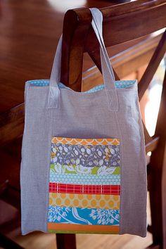Love this patchwork pocket on the Jane Market Bag