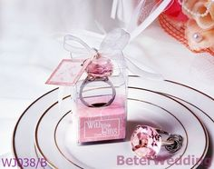 WJ038/B_With This Ring Crystal Ring Keychain Wedding Gift