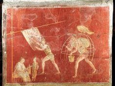 Ancient Roman laundrymen plied their trade under the patronage of the goddess Minerva, whose symbol, the owl, perches on a wicker frame in this fresco from Pompeii's largest laundry.