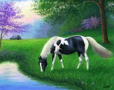 PEACEFUL SPRING EVENING.....it's a quiet evening on the farm as this paint grazes Cute Horses, Beautiful Horses, Spirit The Horse, Horse Artwork, Pretty Drawings, Horse Drawings, Anime Animals, Country Art, Equine Art