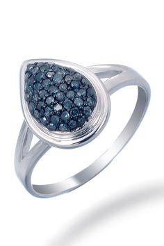 Teardrop Blue Diamond Ring In Sterling Silver.