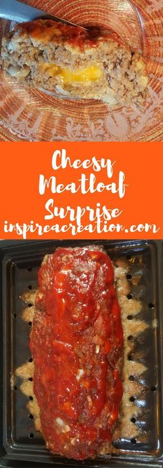 Cheesy Meatloaf Surprise- Cheesy Meatloaf Surprise-Get it here. Baking this easy meatloaf recipe over a small broiler rack keeps the fat from pooling around the meatloaf, keeping it grease-free. Roast Recipes, Fish Recipes, Gourmet Recipes, Vegetarian Recipes, Healthy Recipes, Yummy Recipes, Recipies, Amazing Recipes, Cheesy Meatloaf