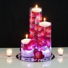 Easy to make DIY wedding table centerpieces Glowing Submersible Centerpieces Floating Candle Centerpieces, Floral Centerpieces, Pillar Candles, Flower Arrangements, Pearl Centerpiece, Deco Table, A Table, Dining Table, Wedding Centerpieces