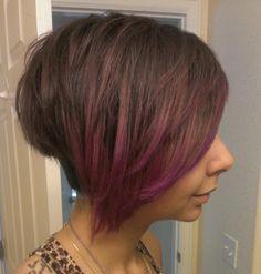 Peekaboo Color Ideas | Brown to purple ombre, short hair @ Lavish Salon Centennial #ombre # ...