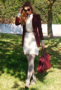 Goodbye burgundy!  , Zara in Blazers, Purificacion Garcia in Bags, Blanco in Belts, Calzedonia in Socks / Tights, Burberry in Glasses / Sunglasses, Primark in Dresses