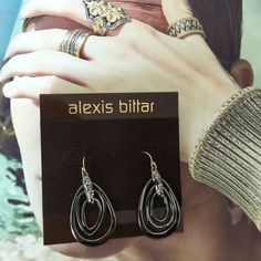 "Alexis Bittar Fashion Earrings. Price firm. ALEX BITTAR Gunmetal With Crystals Dangle Earrings. NWOT. Labradorite stones.   1 3/4"" dangle. 3/4"" wide. Alexis Bittar Jewelry Earrings"