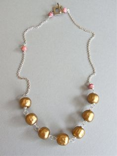 The Rose Gold necklace - a sweet design, this carefully linked necklace features unusual Japanese glass pearl beads, and dainty floral dusky pink beads - also vintage.