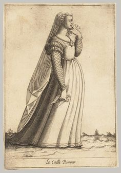 **Above is not mourning dress** BUT click through to the Met's collection of Pietro Bertelli's engravings of Roman women from different walks of life in the late 1500's. 2 widows illustrated there. :)