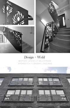 Bespoke laser cut balustrade |  Shoreditch, London |  Design + Weld www.designandweld.com Metal Stairs, Metal Railings, Staircase Railings, Stairways, Balustrade Design, Railing Design, Gate Design, House Design, Jaali Design