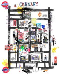 This is an illustration made by Hennie Haworth for the GQ magazine featuring the area of Carnaby Travel Maps, Travel Posters, Rock And Roll, Tourist Map, Travel Illustration, Gq Magazine, Map Design, City Maps, London Art