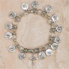 14 Stations of the Cross Stretch Italian Glass Bracelet