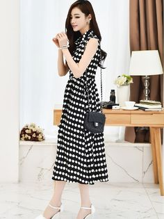 Asian midi cotton stripe or dotted summer dress YRB0772