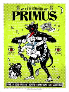 Primus Poster Series - Grand Junction, CO by Morning Breath Tour Posters, Band Posters, Music Posters, Baphomet, Les Claypool, Grand Junction Colorado, Music Artwork, Tool Artwork, Pale Horse