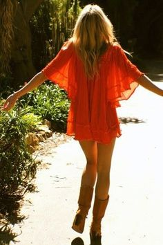 Orange dress with boots