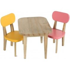 Maileg Rabbit Wooden Table and 2 Chairs - Yellow and Pink