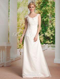 A-Linie Princess-Stil Tülle Satin bodenlang Herz-Ausschnitt Brautkleid - $189.99