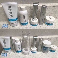 Am and pm line-up for REDEFINE. Is your skincare routine this power packed? Jwells21.myrandf.com Jenwells21@gmail.com