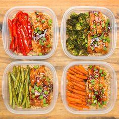 One-Pan teriyaki chicken meal prep recipe food здоровая еда, Lunch Meal Prep, Healthy Meal Prep, Healthy Eating, Healthy Food, One Pan Meal Prep, Meal Preparation, Vegetarian Food, Healthy Chicken, Healthy Weight