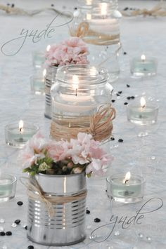 DIY - Small flower vases with cans! 20 ideas insp - flower ideas - DIY – Small flower vases with cans! 20 ideas insp DIY – Small flower vases with cans! Wedding Centerpieces, Diy Wedding Decorations, Pink Table Decorations, Centerpiece Ideas, Table Centerpieces, Vintage Decorations, Valentine Decorations, Decor Wedding, Wedding Events