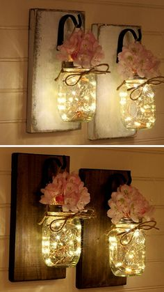 Mason Jar Sconce Mason Jar Decor Wall Sconce Mason Jar Wall Decor Rustic Decor Set Of 2 #masonjar #diy #diyhomedecor #jars #flowers #walldecor #rustic #farmhouse #vase #lights #Sconce #affiliate #ss
