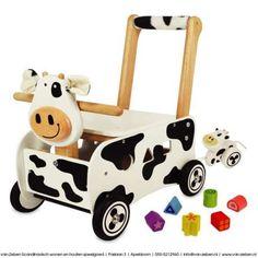 Handige duwwagen - loopkar koe om uw kind te leren lopen of als loopfiets, leuke met vormenblokjes en kalfje als aanhanger