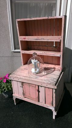 New find-pink primitive stepback cupboard