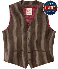 "Complete the distinguished gent look with this linen stripe waistcoat. With a tailored fit and adjustable back waist, add class to a simple shirt and jeans or wear with the Distinguished Jacket for a dapper look. Approx Length: 58cm Our model is 6'1"" tall and wears size medium"