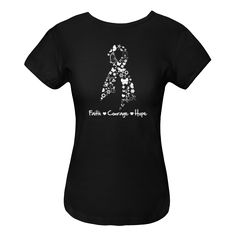 Mesothelioma Cancer Faith Courage Hope Women's Fitted T-Shirt - Black | Hope Dreams Cancer Awareness Ribbon Shirts and Gifts