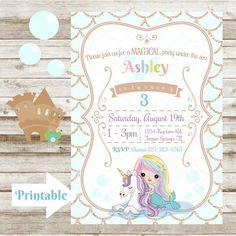 Magical Rainbow Mermaid and Unicorn Birthday Invitation - Printable Unicorn Birthday Invitations, Printable Birthday Invitations, Unicorn Birthday Parties, Unicornios Wallpaper, Rsvp, Banner, Mermaid, Just For You, Printables