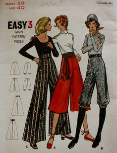 1980s Gaucho Pants in Two Lengths Evening Length Pants  Butterick 6054 Vintage Sewing Pattern UNCUT by BluetreeSewingStudio on Etsy
