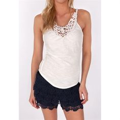 Free People Womens Contemporary Toosaloosa Slub Woodstock Tank #VonMaur #FreePeople #Ivory #CutOut #Beaded #Neckline #Tank