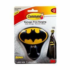 Command(TM) Large Batman Hook - the perfect accessory for your little superhero's accessories. For Katelyn, lol. She loves batman Batman Bathroom, Superhero Bathroom, Superhero Room, Batman Nursery, Batman Room, I Am Batman, Baby Batman, Big Boy Bedrooms, Kids Bedroom